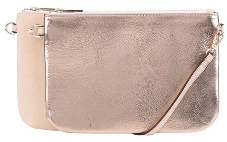 Crossbody kabelka 2v1 v krémové a růžovozlaté barvě Miss Selfridge