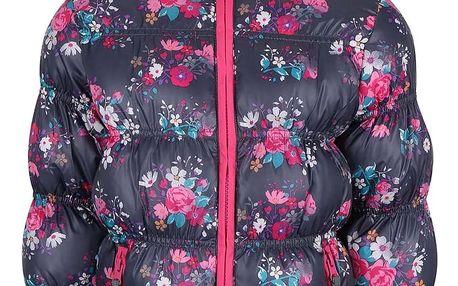 Růžovo-šedá holčíčí prošívaná květovaná bunda Blue Seven