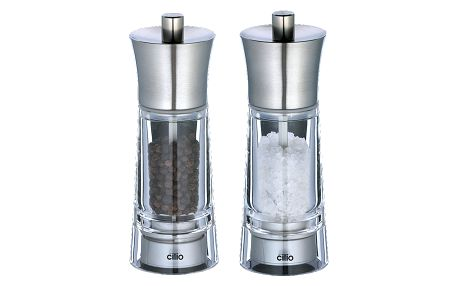 Sada mlýnků na pepř a sůl Genova Cilio nerez 14 cm