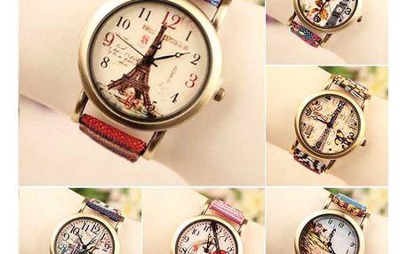 Různobarevné hodinky s textilním páskem - různé vzory