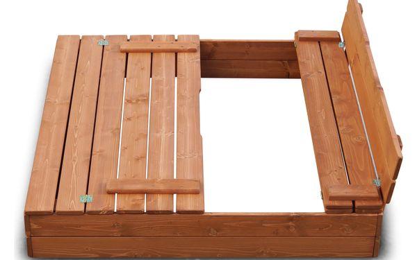 Dřevěné pískoviště 120x120 cm barva týk s krytem2