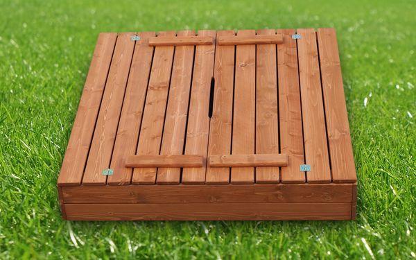 Dřevěné pískoviště 120x120 cm barva týk s krytem3