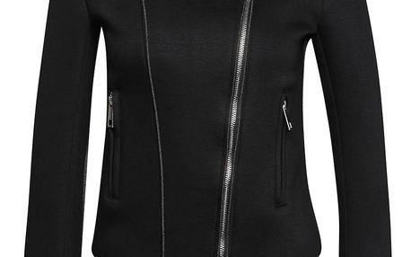 Černá bunda s asymetrickým zapínáním Alchymi Davina