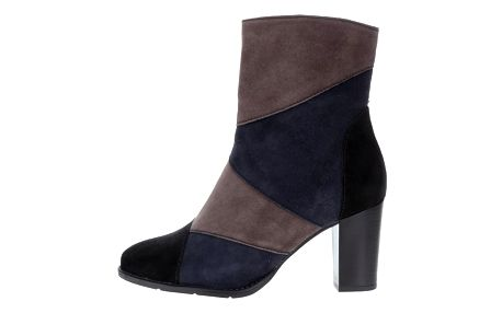 Modro-hnědé semišové kotníkové boty Tamaris