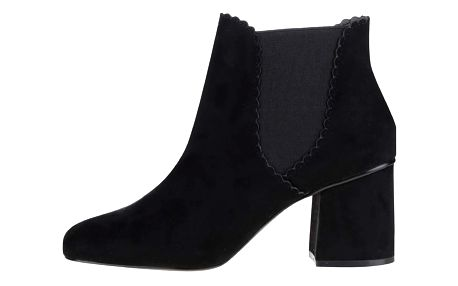 Černé chelsea boty na podpatku v semišové úpravě Dorothy Perkins