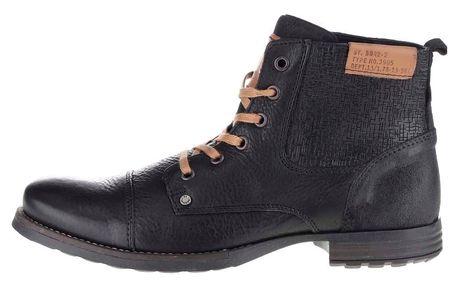 Černé pánské kotníkové boty se vzorem Bullboxer