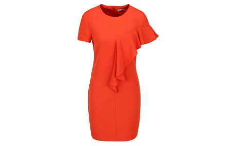 Oranžové šaty s asymetrickým volánem Miss Selfridge