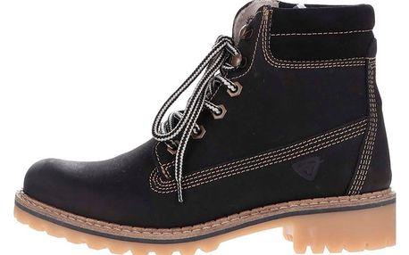 Černé kožené kotníkové boty Tamaris