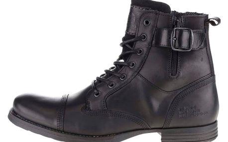 Černé pánské kožené boty s přezkou Bullboxer