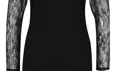 Černé pouzdrové šaty s krajkovými rukávy Miss Selfridge