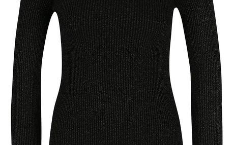 Černé třpytivé žebrované tričko s odhalenými rameny Miss Selfridge