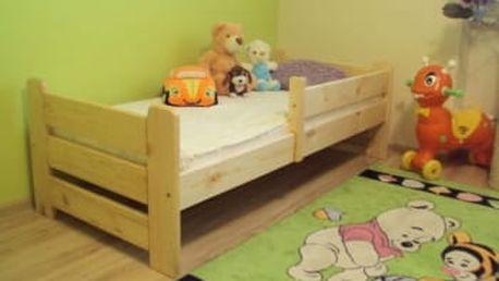 Dětská postel Medvídek z masivu 80x160 borovice borovice