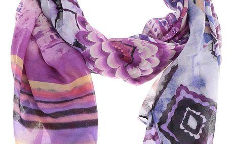 Modro-fialový vzorovaný šátek Desigual Ethnic Dye