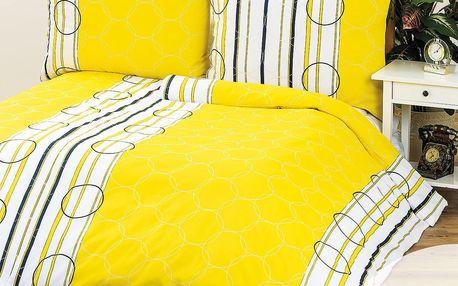 4Home povlečení Clarissa žlutá 1+1, 140 x 200 cm, 70 x 90 cm