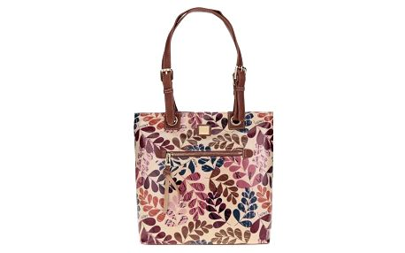 Hnědá květovaná kabelka s koženými detaily Liberty by Gionni Lea