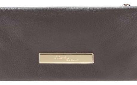 Tmavě hnědá kožená peněženka s detaily ve zlaté barvě Liberty by Gionni Fernanda