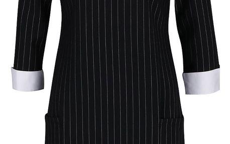 Černé pruhované šaty s 3/4 rukávy Dorothy Perkins