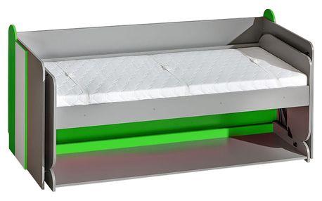 Dolmar Postel kombinovaná s psacím stolem FUTURO F14 Barevné provedení: Grafit / zelená / bílá