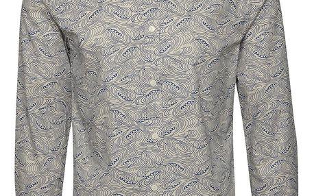 Modro-béžová vzorovaná slim fit košile ONLY & SONS Christoffer