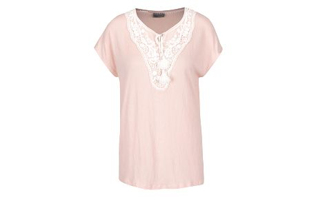 Světle růžové tričko s krajkou v dekoltu VERO MODA Matea