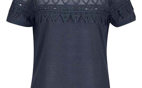 Tmavě modré tričko s krajkou VERO MODA Melani