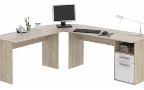 Rohový PC stůl, dub sonoma / bílá, Maurus NEW MA11