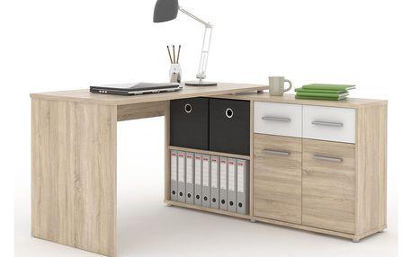 PC stůl RAFAEL, dub sonoma/bílá