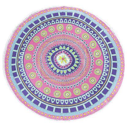 Růžová plážová deka Sun & Surf Mandala Flor