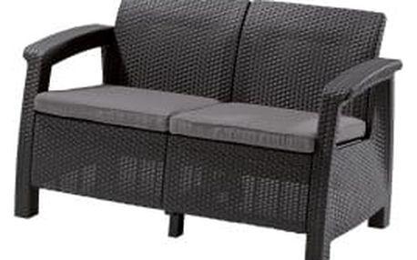 CORFU LOVE SEAT antracit + šedé podušky zahradní sofa