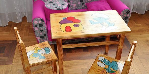 HMmax Dětský stoleček AD 232 s motivy - masiv Motivy: Šmoulové (bez židliček)2