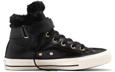 Converse černé kožené dámské boty Brea s kožíškem - 37,5