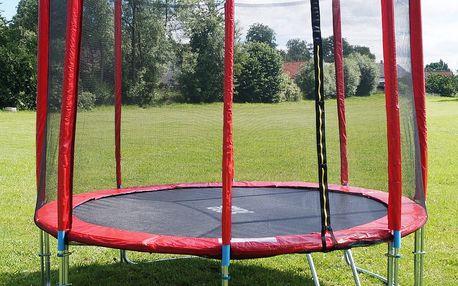 Červená trampolína 305 cm s ochrannou sítí + žebřík + krycí plachta - 189x140