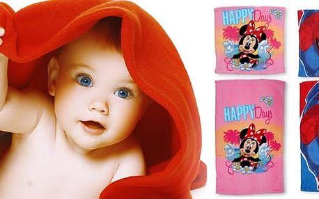 Dětský set osušek Disney ze 100% bavlny, 2 motivy - Minnie a Spiderman. Osušky jsou vyrobeny z příjemného materiálu s dobrou savostí, který je citlivý k dětské pokožce.