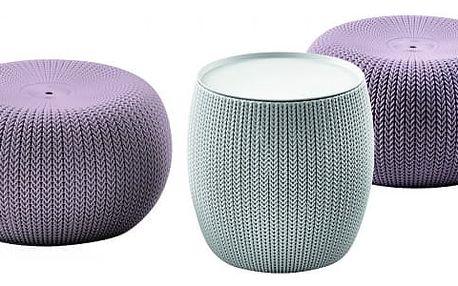 Urban Knit Set - PSTVLT, Sedací set (fialový sedák + šedý stůl)