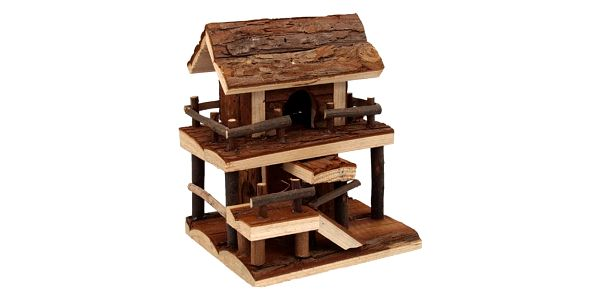 Domek SMALL ANIMAL Dvoupatrový dřevěný s kůrou 17 x 15 x 20 cm