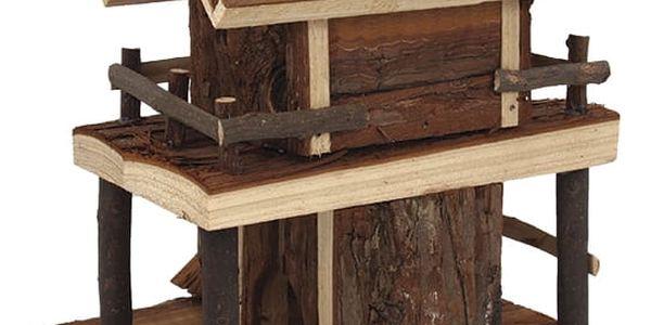 Domek SMALL ANIMAL Dvoupatrový dřevěný s kůrou 17 x 15 x 20 cm2