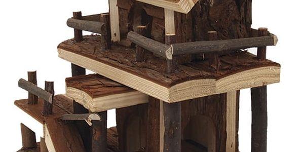 Domek SMALL ANIMAL Dvoupatrový dřevěný s kůrou 17 x 15 x 20 cm3