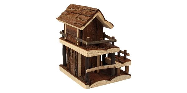 Domek SMALL ANIMAL Dvoupatrový dřevěný s kůrou 17 x 15 x 20 cm4