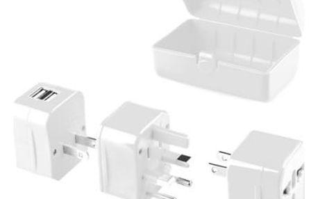 Cestovní adaptér GoGEN pro 150 zemí, 2x USB (GOGTC062WORLD) bílý