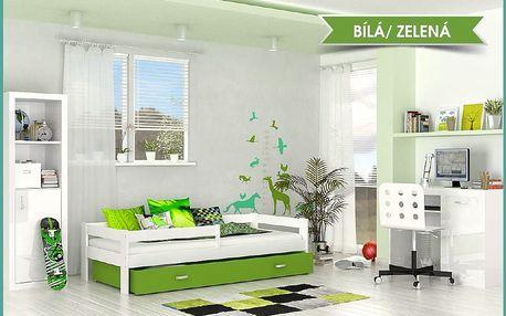 Dětská postel HUGO s barevnou zásuvkou - zelená barva