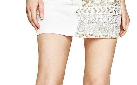 Desigual bílá džínová sukně Exotic White Skirt s flitry - 32