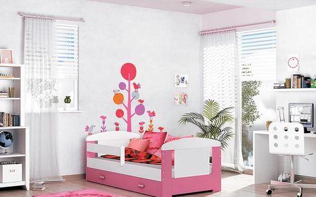 Dětská postel Filip Color, 160x80 - růžová barva