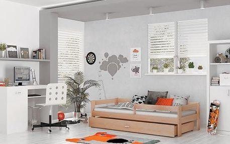 Dětská postel HUGO, 160x80 - olše - lak
