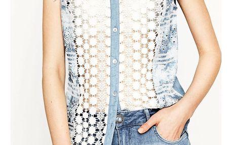 Desigual denimová košile Laia s výšivkami - XL