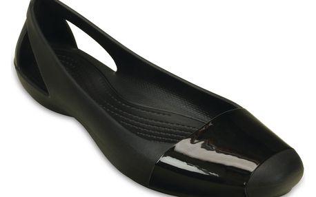 Crocs černé baleríny Sienna Shiny Flat Black s lesklou špičkou - W10