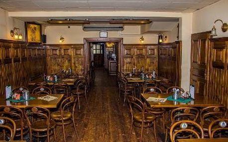 Hovězí guláš s houskovými knedlíky pro 2 nebo 4 osoby v restauraci Švejk ve Strašnicích