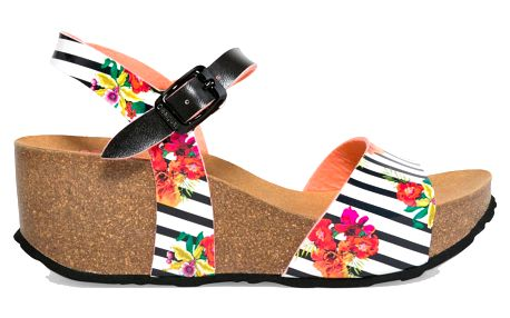 Desigual pruhované boty na klínku Bio7 Flores & Rayas - 41
