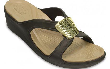 Crocs dámské sandálky Sanrah Embellished Wedge Bronze/Gold - W9