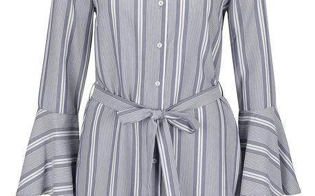 Krémovo-šedé pruhované košilové šaty Miss Selfridge