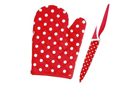 Nůž s teflonovým povrchem, chňapka zdarma červená